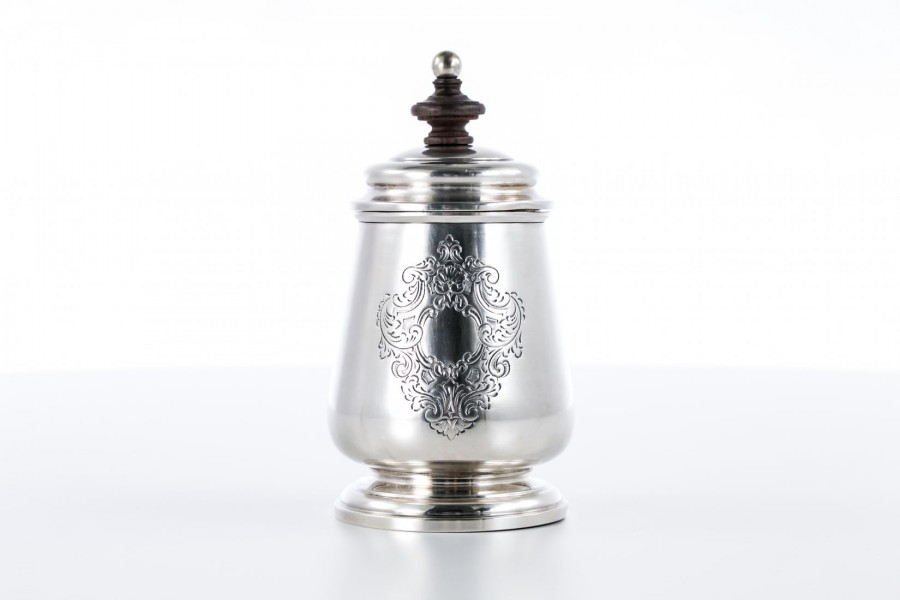 Cukiernica CESA 1882, z pokrywką z hebanem, złocona, srebrna, Włochy – art deco.