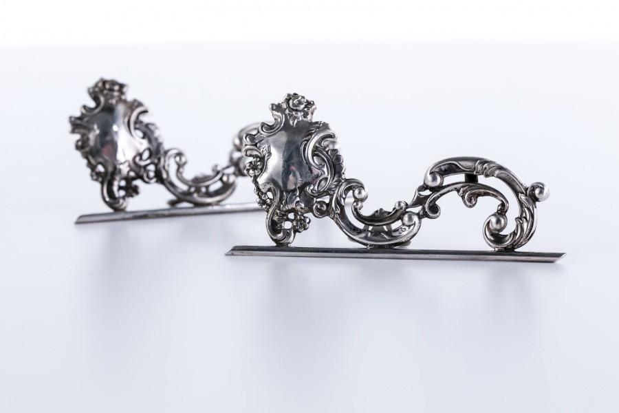 Kpl. 2 Wizytowników Dla  Zakochanych, wytworne, stojące srebrne, Francja – neorokokowy