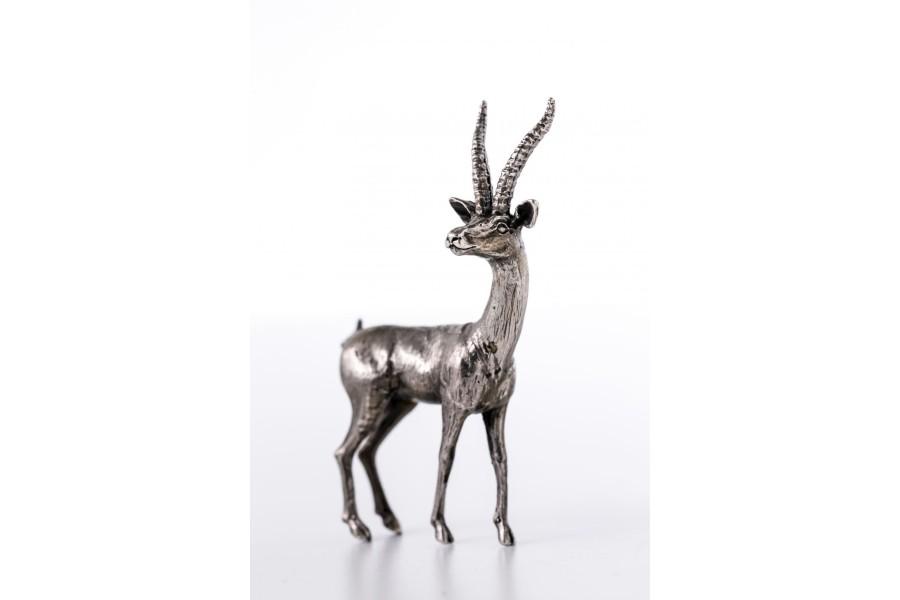 Antylopa Arezzo, miniaturka, srebro, Włochy – sztuka świata