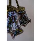 Żyrandol figuralny Murano, brąz, klosze ze szkła Millefiori, Włochy, Wenecja - eklektyczny