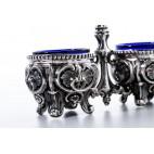 Kabaret z kobaltowymi wkładami na pieprz i sól, srebrny, Niemcy – neobarokowy