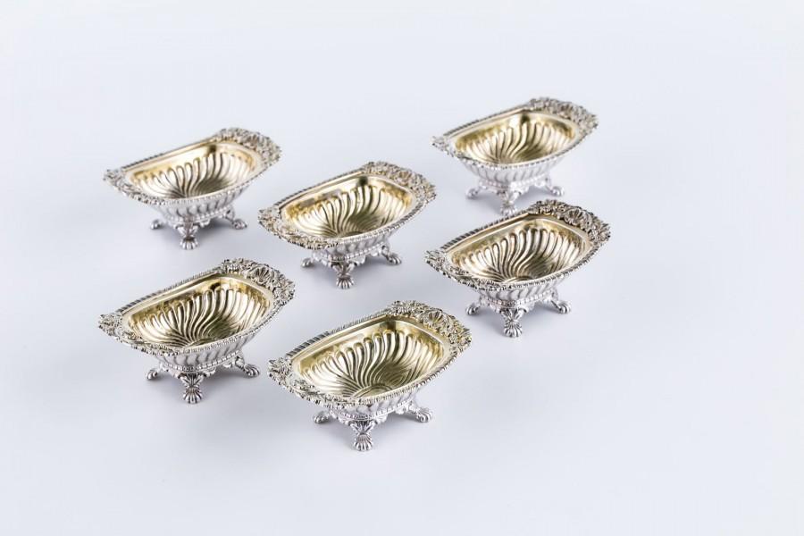 Zestaw W. Bagnall 6-elem. na przyprawy, XVIII w. złocony, srebrny, Anglia – rokokowy
