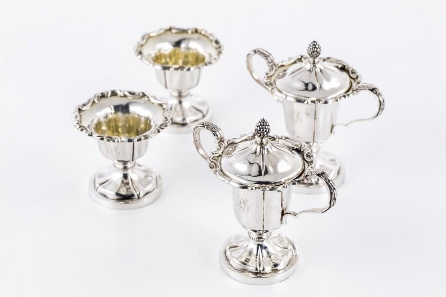 Komplet 4-elem. na przyprawy, stołowy, złocony od wewnątrz, srebrny, Holandia – eklektyczny