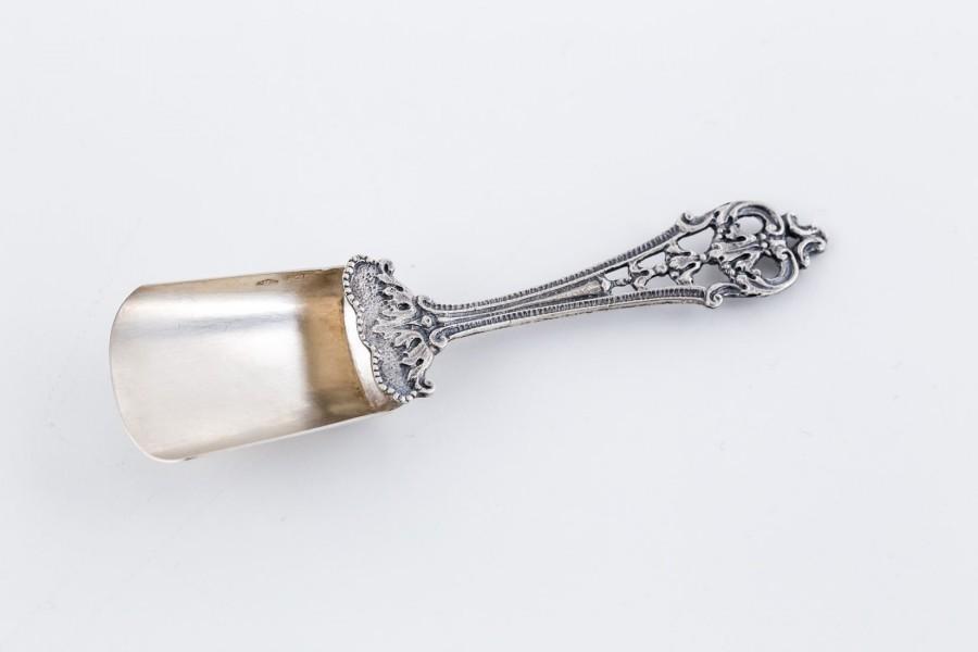 Łyżeczka do cukru, duża, rękojeść neorokokowa,   włoska, srebrna–sztuka świata.