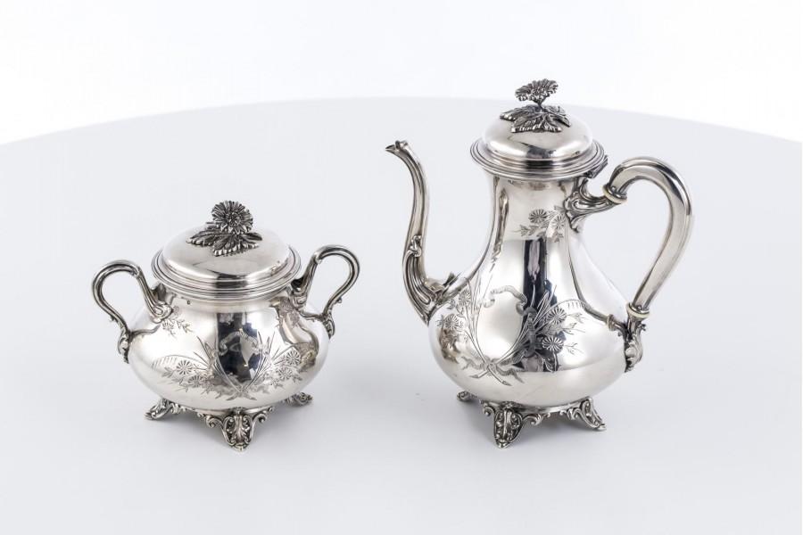 Kpl. kawowo-herbaciany Flamant & Fils,  dzban i cukiernica, srebrny, Francja – eklektyczny