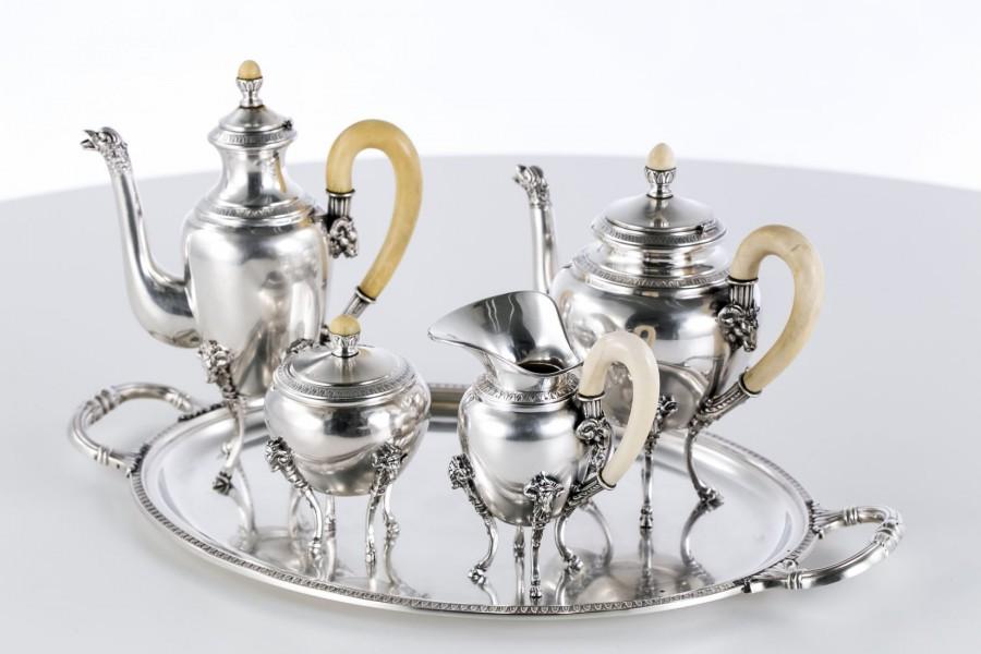 Serwis kaw-herb. Gioielliere,  5-elem.srebrny z bogatą kością  słoniową, Włochy – Neo Empire