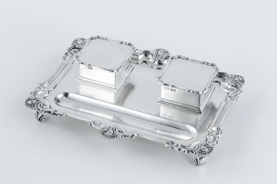 Kałamarz G&S. Co Ltd. srebrno – kryształowy, Anglia – klasycystyczny