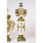 Kpl. pałacowy: 2 kandelabry z zegarem, majolika, brąz,  mosiądz, złocenia - secesyjny