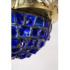 Żyrandol ampla typu witraż Tiffany'ego, szkło łupane, brąz, Niemcy – eklektyczny
