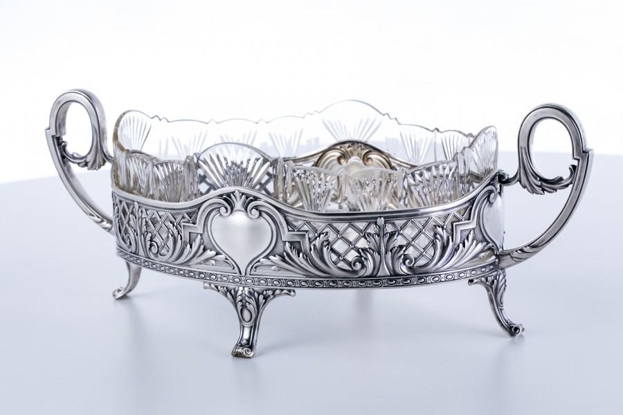 Żardiniera z kryształową czarą, dwuelementowa, Kȕhn & Posen, srebrna, Niemcy – eklektyczna