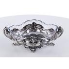 Żardiniera z pięknie ciętym wkładem kryształowym, srebrna, Niemcy – neobarokowa.