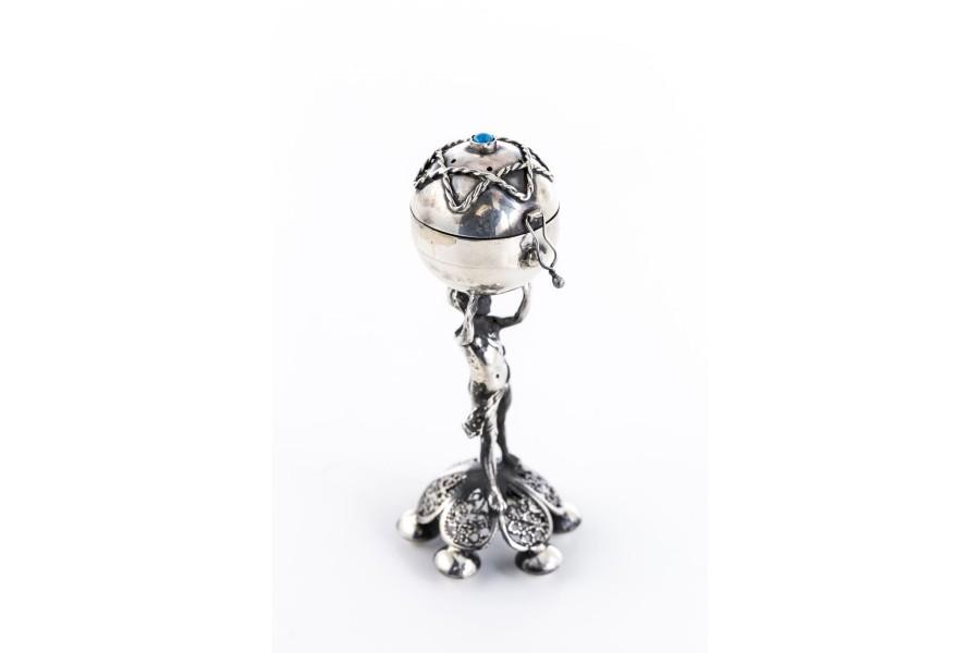 Balsaminka z turkusem, Judaica figuralna, srebro, Rosja – szt. świata