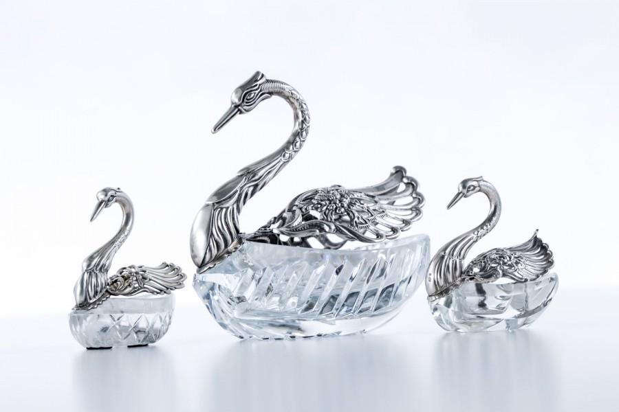 Komplet 3 łabędzi  na cukier i przyprawy,  srebrno/kryształowy–secesyjny