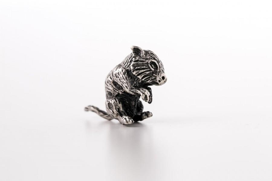 Miniaturka myszki polnej, srebro, Włochy – sztuka świata