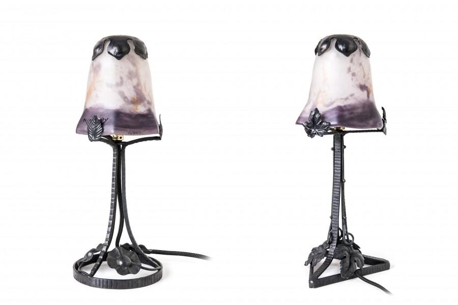 Jean Noverdy La France, kpl. 2 lampek stojących, buduarowe, Francja –art deco.