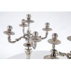 Komplet 2 świeczników,  reprezentacyjne, przestrzenne, srebrne, Hiszpania – neobarok.