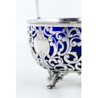 Cukiernica CESA otwarta, wsad ze szkła kobaltowego, srebrna, Włochy – modernizm.
