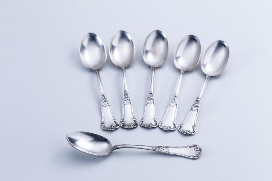 Kpl. 6 łyżeczek deserowych, do kawy, srebrne, Włochy – sztuka świata.