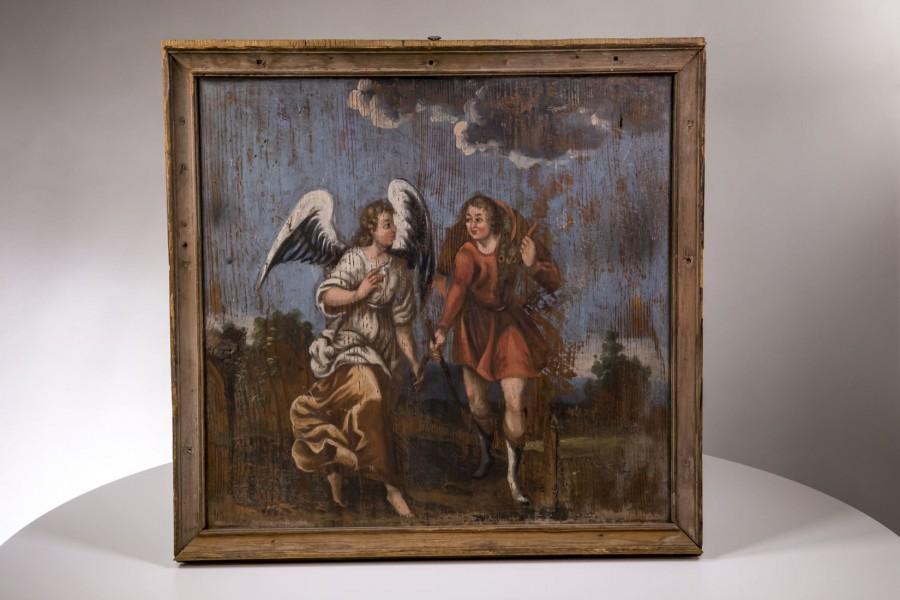 """Obraz malowany na drewnie """"Wędrowiec z Aniołem"""", Polonica – barokowy."""