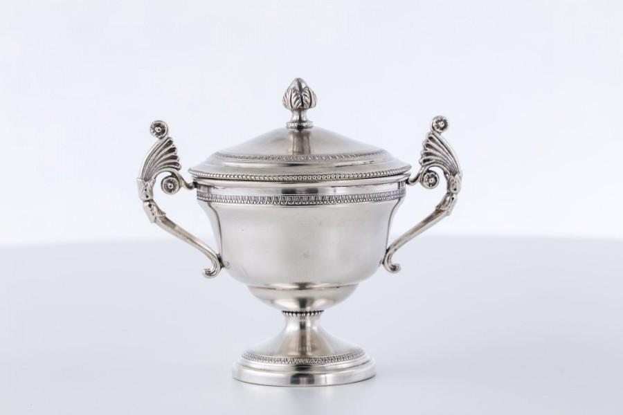 Cukiernica Bausi Bruno, z pokrywką, srebrna, Florencja, Włochy – Neo Empire