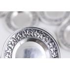 Komplet 12 podstawków pod  kieliszki, mini talerzyków, srebro, Niemcy – sztuka świata.
