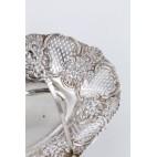 Kosz Nathan & Hayes z pałąkiem, ażurowa, srebro, Anglia – neorokoko.