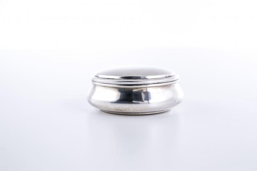Puzdro Sernesi Giordano, szkatuła, na drobną biżuterię, srebro, Włochy – modernistyczne