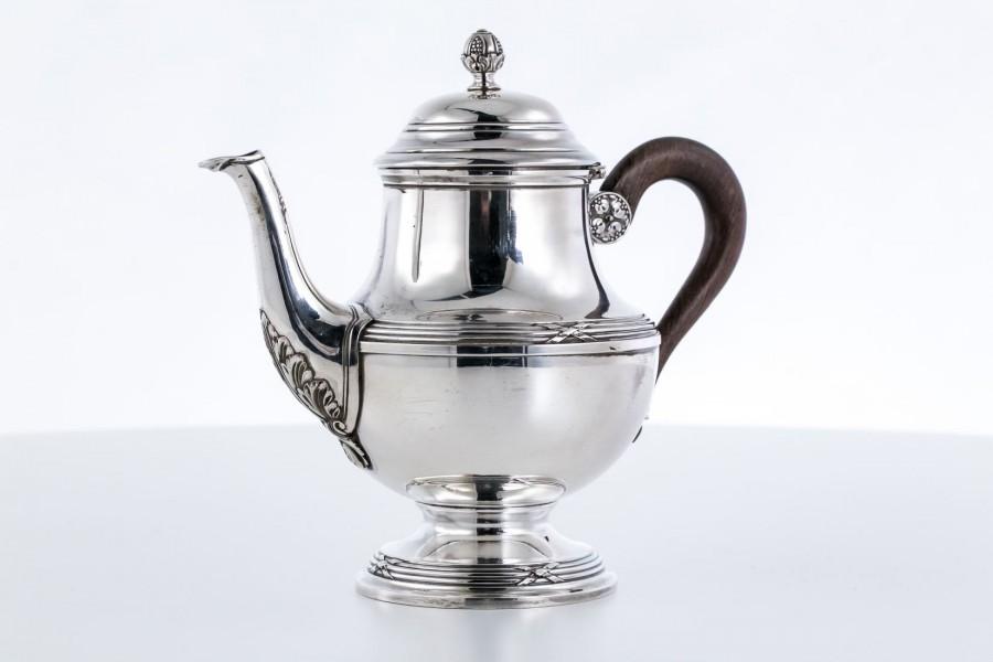 Dzbanek Lapparra & Gabriel, na herbatę, rączka hebanowa, srebro, Francja – neoklasycyzm.