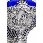 Kosz / patera ze wsadem  kobaltowym, srebro,  Niemcy – neobarokowy.