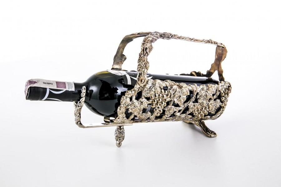 Stojak / koszyczek na butelki do wina i jego rozlewania,  plater – secesja.