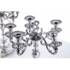 2 świeczniki 5 ramienne, kajzerowski orzeł, w komplet, srebro, Niemcy – neorokokowe.