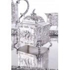 Serwis kawowo-herbaciany  5-elementowy z tacą, srebro,  Niemcy- neobarokowy.