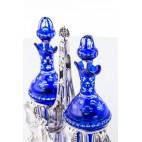 Kabaret Fray Fils na przyprawy płynne, dwie karafki szklane, srebro, Paryż – klasycystyczny.
