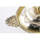 Ecuelle kryte na ciepłe potrawy, terryna reprezentacyjna,złocona srebro, Rosja – neorokoko.