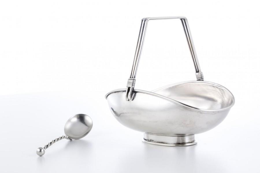 Cukiernica otwarta / koszyczek z łyżeczką, srebro, Włochy, Niemcy – Art Deco.