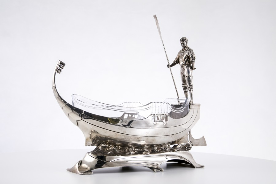 Żardiniera WMF gondola wenecka szkło kryształowe, Niemcy , plater srebrzony – eklektyczna