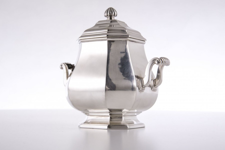 Cukernica Henin & Cie, kryta, srebrna, Francja, Paryż - Art Deco.
