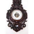 Wiszący barometr z termometrem rtęciowym, sprawny, z masy  formierskiej, Francja - secesyjny