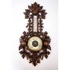 Wiszący porcelanowy barometr z termometrem na rtęć, drewniany sprawny, Holandia – eklektyczny