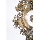 Barometr stojący, gabinetowy, wiktoriański z brązu spiżowego sprawny, Anglia – eklektyczny.