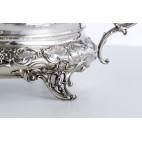 Żardiniera srebrna z czarą kryształową, reprezentacyjna, niemiecka – neorokokowa.
