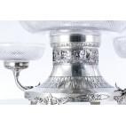 Patera reprezentacyjna wysoka, 3 kryształowe czary, srebrna,  Niemcy – klasycystyczna