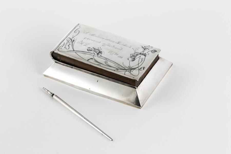 Pamiętnik / listownik miłosny, urodzinowy, zakuty w srebro – sztuka świata / secesja.