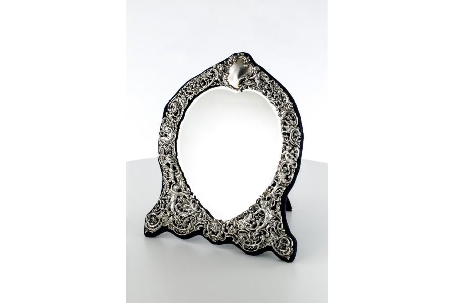 Lustro buduarowe W. Chawner zakute w srebro, Stary Londyn,  200-letnie, srebrne – neobarok