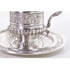 Kpl. 2 filiżanek do czekolady ze wsadem kobaltowym, srebrny, Włochy – postmodernistyczny.