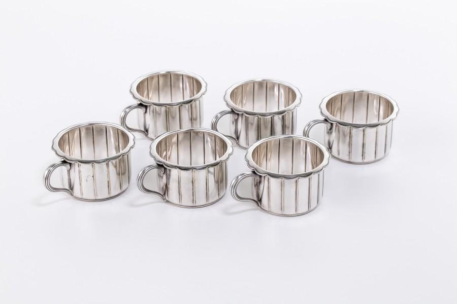 Kpl.6 koszyczków WMF (1910-20) do szklanek do herbaty, platery, Niemcy – art deco.