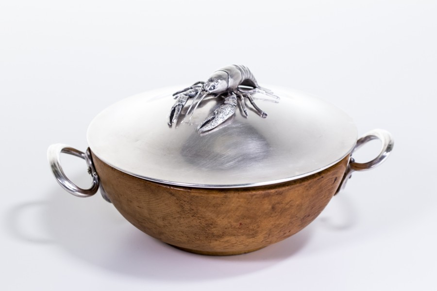 Rakownica kryta do serwowania raków, Niemcy, plater,  słabe srebro – sztuka świata.