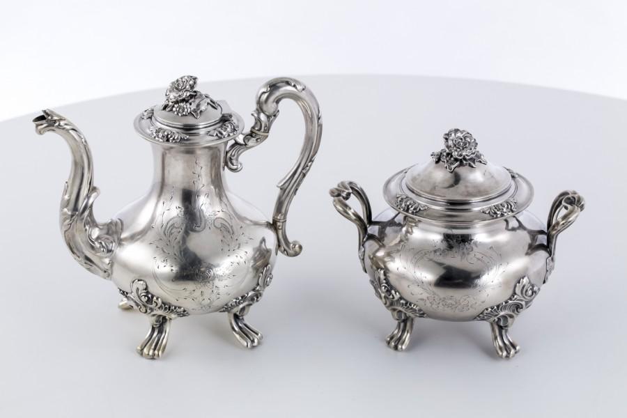 Komplet kawowy Debain Flamant, dzban i cukiernica, Francja,  srebrny – eklektyczny.