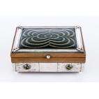Humidor / cygarnica męska, z masą koralowo-perłową,  srebrna - Art Deco.