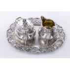 Komplet 3-elementowy, Niemcy: cukierniczka, mlecznik i tacka, srebrny złocony–klasycystyczny